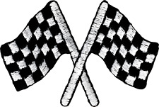 51002 Checkerboard Racing Flags Moto Drag Street Embroidered Sew Iron On Patch