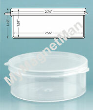 Plastic Craft Storage Vial w/ Hinged Lid 2 1/2 Ounce Translucent Clear (10 pack)