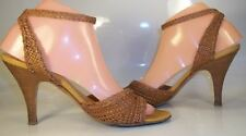 Pollini Womens US38.5 US8.5 Brown Woven Ankle Strap Open toe Sandals Heels Italy