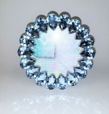 "NEW CONCEPTS PICTURE FRAME+BLUE PEAR SHAPE RHINESTONE CRYSTALS PHOTO~4""X4"""