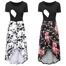 Pregnant Maternity Women Floral Sundress Short Sleeve Breastfeeding Party Dress
