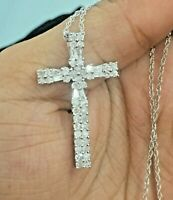 1.07 Ct Round Baguette Natural Diamond Cross Pendants Necklace Sterling Silver