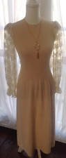 Vintage 1960's Pat Sandler for Wellmore Victorian Style Crochet and Lace Dress S