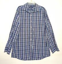 Mens Tommy Hilfiger Blue Button Front Long Sleeved Plaid Shirt Size L 16.5 34-35
