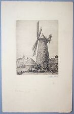 Etching by Cecil Tatton-Winter (1895-1954) Patcham Mill, Brighton,Sussex.