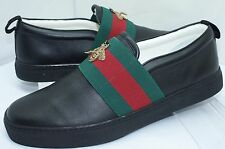 Gucci Mens Shoes Black Loafers Bee Web Miro Soft Size G 10.5 Leather Driver NIB