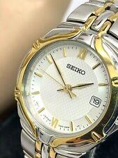 Seiko Women's Watch Quartz SXD646 Two Tone Stainless Steel Silver Dial Date