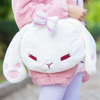 Lolita Girl'S Bowknot Bunny Rabbit Plush Cute Handbag Shoulder Bag Kawaii White