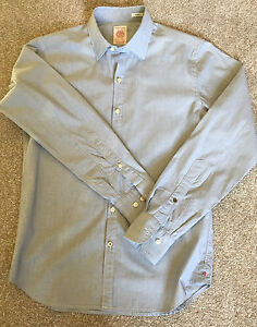 GORGEOUS REPLAY DUSTY BABY BLUE SLIM FIT SHIRT 15.5 COST £90