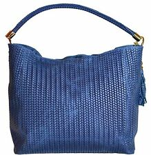 Borsa shopper in vera pelle per donna, colore blu Handbag ladies real leather