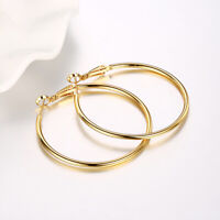 Fashion 10k Yellow Gold 2.0mm x 25mm Round Shiny Runway Tube Hoop Earrings