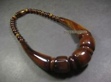 N4747 Necklace Tribal Gypsy Gift Rust Amber Resin Bead Fashion Jewelry TIBETAN