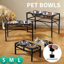 Double Bowl Dog Cat Feeder Elevated Raised Stand+2 Feeding Food Water Pet Dishes