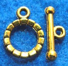 50Sets WHOLESALE Tibetan Antique Gold ROUND Toggle Clasps Connectors Hooks Q0934