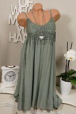 Hippie Häkelkleid Sommer Träger Kleid Vintage khaki Ibiza 36 38 40 Häkelspitze