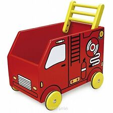 New I'm Toy Wooden Fire Truck Walker  Trolley Toddler Push Along Engine Wagon