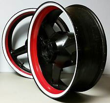 RED WHITE CUSTOM INNER RIM DECALS WHEEL STICKERS STRIPES TAPE GRAPHIC VINYL WRAP
