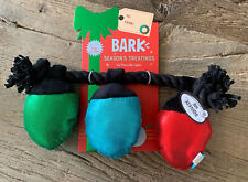 NEW BARK Dog Tug-O-War Squeak Toy Christmas Holiday Red Green Blue Lights Rope
