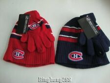 MONTREAL CANADIENS NHL Red & Blue Mens Boy Hat and Gloves Set Sets - NEW