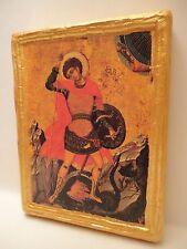 Saint George Rare Byzantine Greek Eastern Orthodox Icon on Aged  Wood