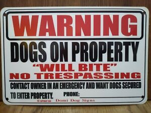 "Metal Warning Dogs Sign For FENCE ,Beware Of Dog 8""x12"" dog will bite USA Made"
