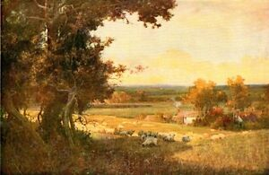 ALFRED EAST c1900 Oil Painting THE GOLDEN VALLEY Vintage Artwork 1930 Book Print