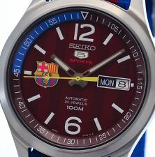 NEW MEN'S SEIKO 5 SPORTS BARCELONA EDITION 24 JEWEL FULLY AUTOMATIC SRP305K1