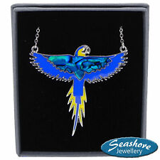 Blue Parrot Necklace Paua Abalone Shell Pendant Silver Fashion Jewellery 18""