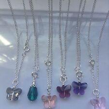 6pcs Silver Plated Chain Necklaces Quartz teardrop / Butterfly Pendant Jewellery