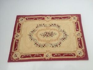 STUNNING HAND STITCHED FRENCH AUBUSSON STYLE RUG CARPET DOLLS HOUSE DOLLHOUSE