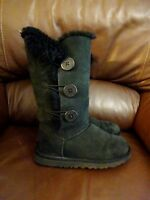 UGG Bailey Button Triplet Black Sheepskin Boot UK4.5 EU 37