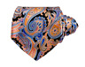 RECENT Vitaliano Pancaldi Satin Silk Black/Pink/Orange/Blue Paisley Abstract Tie