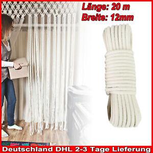 Baumwollseil 12mm Meterware 20m Makramee gedreht Natur-Baumwolle Seil DHL