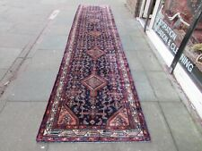 Vintage Traditional Hand Made Oriental Navy Blue Pink Wool Long Runner 467x105cm