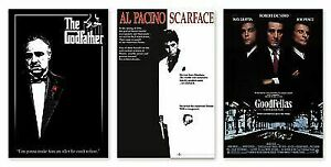 CLASSIC GANGSTER MOVIES - POSTER SET (SCARFACE, GOODFELLAS & THE GODFATHER)