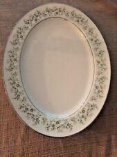 "Noritake Savannah Platinum Rim 13"" Oval Serving Platter 2031 13 5/8"""