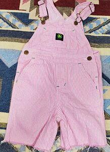 John Deere Pink Stripe Girls Overalls Cutoff Shorts Size 3T Western Country