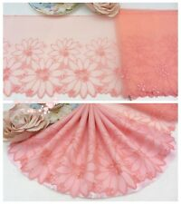 "7.5""*1Y Embroidered Floral Tulle Lace Trim~Coral Pink~Spring Glory~Sewing/DIY~"