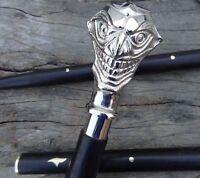 Antique Vintage Brass Victorian Handle Wooden Style Walking Stick/Cane Designer