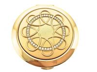 Gold Crystallized Compact 191 HandHeld Compact Mirror Bejeweled Enamel Swarovski