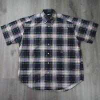 Vintage Mens Tommy Hilfiger Big Flag Crest Check Plaid Short Sleeve Shirt M 1918