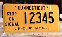 CONNECTICUT - 1980s vintage SCHOOL BUS PROTOTYPE license plate - odd design