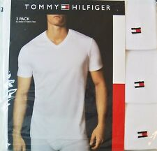 New Mens Tommy Hilfiger 3-Pack White Cotton V-Neck T-Shirts Tees Size L MSRP $39