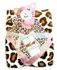 Baby Girl's Pink Kitty Cat Security Blanket and Plush Leopard Print Blanket