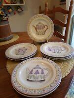 """Sukura Onieda Debbie Mumm Lavender Tea Garden 8"""" Salad/Dessert Plates Two..."""