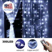 300LED/10ft Curtain Fairy USB String Lights Party Wedding Decor w/Remote Control