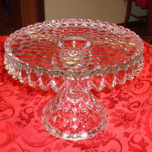 Vintage American Fostoria Crystal Glass Round Pedestal Cake Plate Stand Rum Well