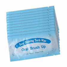 20 x Oral Brush Up Deep Cleaning Teeth Wipes - Mint Flavour Sugar Free Travel