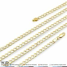 """14K Solid Yellow Gold Diamond Cut 4mm Cuban Curb Link Chain Necklace 22"""""""
