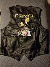 Vintage Joe Camel Cigarettes Leather Bikers Vest Branded Garments Made in USA